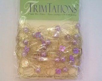 Wire Ribbon Trim Beaded with Faux Pearls and Lavender Sequins - 2 Inches Wide - 1 Yard Package - Wire Trim Embellishment - Gift Wrap