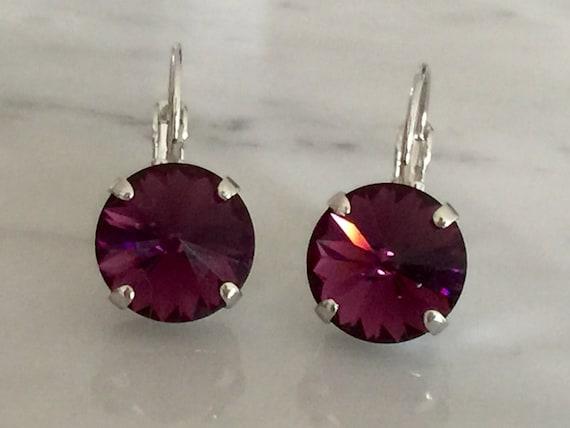 Amethyst Swarovski Crystal Earrings, Silver