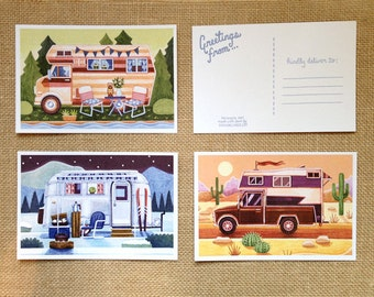 Set of 6 Vintage Camping Travel Postcards