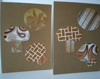 Mushroom 2-Card Set Handmade Farmers Market Funghi Brown Earth Tones Collage Hand Cut Paper