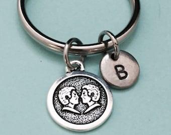 Gemini keychain, gemini charm, horoscope keychain, personalized keychain, initial keychain, customized keychain, monogram