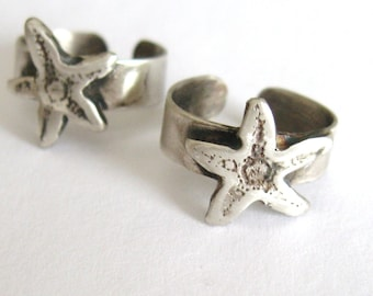 Sea Star star fish Toe Ring in sterling silver adjustable band toe ring