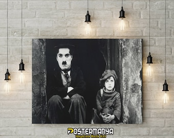 Charlie Chaplin and Child Movie Poster - Canvas Printing (High Quality - Available in many sizes) - Gifts