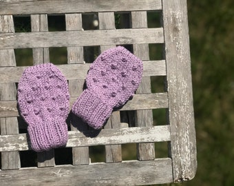 Organic Cotton Bubble Mittens | Lavender | Hand Knit, Neutral Baby Shower Gift, Newborn Baby Gift, Soft Scratch Mittens