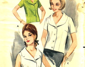 1960's Front Buttoned Overblouse Bust 32 Butterick 3405 Vintage Sewing Pattern Size 12
