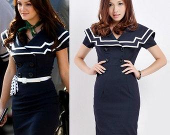 1950s/ 50s dress/ Sailor Dress/ Nautical Dress/ Rockabilly/ Pin up/ Plus size/ Vintage Dress / Blair Waldorf/ Navy Blue/ Gossip Girl