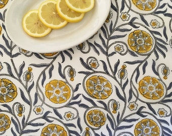Hand Block Printed Cotton Fabric from India - Yellow and Gray Floral Vine - Bohemian Fabric By the Yard - Natural Vegetable Dye