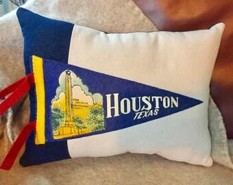 American Roadtrip Pennant Pillow, Houston Texas - Decorative Pillow - Vintage Pennant Pillow