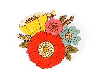 Poppy posy brooch ~ hand painted laser cut flower brooch