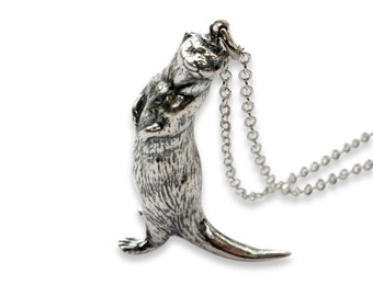 Silver Otter Necklace Otter Pendant 400