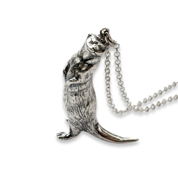 Silver otter necklace otter pendant 400 aloadofball Image collections