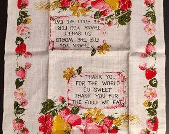 Vintage MWT Pure Linen Fruit Thank You Prayer Tea or Dish Towel