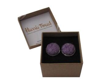 Harris Tweed Lilac Heather Handmade Boxed Cufflinks