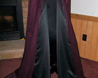 Renaissance Medieval Hooded Cloak SUEDE Cape Wicca Witchcraft