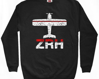 Fly Zurich Sweatshirt - ZRH Airport - Men S M L XL 2x 3x - Zurich Switzerland Shirt - 2 Colors