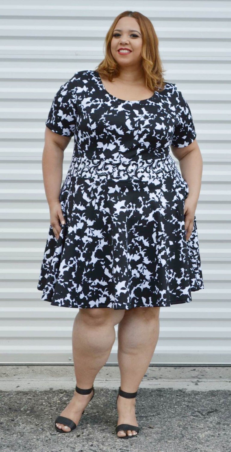 Sale Plus Size Dress Womans Floral Dress Black And White Plus Size