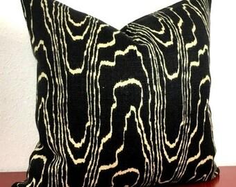 Kelly Wearstler Agate Pillow Cover - Ebony/Beige - Beige on Black - Choose 1 OR 2 SIDED -  Designer - Linen - High End