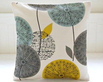 teal grey mustard yellow dandelion cushion cover, flower pillow cover 16 inch