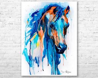 Horse watercolor painting print by Slaveika Aladjova, art, animal, illustration, home decor, wall art, gift, portrait, Contemporary