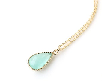 Mint necklace, New gold teardrop necklace, Bridesmaid gift, Mint wedding jewelry, Bridal necklace, Mint jewelry, Mint dainty necklace