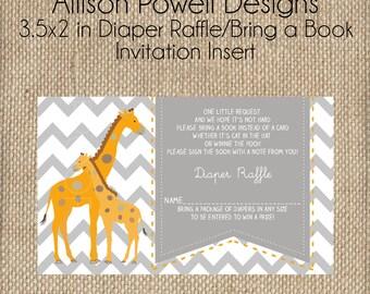 Diaper Raffle Insert Giraffe Gender Neutral Baby Shower, Orange, Grey, White Chevron