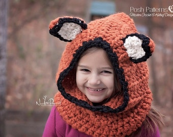 Crochet PATTERNS - Fox Hat Crochet Pattern - Fox Hood Crochet Pattern - Hooded Cowl Pattern - Baby, Toddler, Kids, Adult Sizes - PDF 255