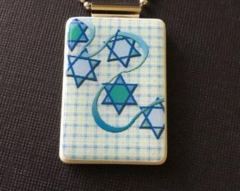 Hanukkah Jewelry, Chanukah Jewelry, Hanukkah necklace, Chanukah necklace, Star of David jewelry, Handmade Hanukkah pendant, Mahjong pendant