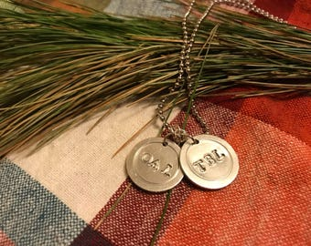 Initials disc ball chain necklace