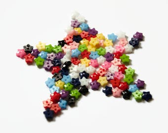 Micro Star Buttons (100 Buttons) - 6mm Buttons - Little Buttons Stars - Very Small Buttons Doll Buttons - Star Shaped Button - Stars Plastic