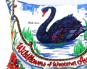 Cushion Cover Vintage Linen Tea Towel Black Swan Western Australia