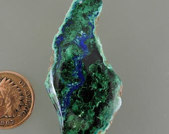 Azurite and Malachite Cabochon, Blue and Green Cab,  Azurite and Malachite Arizona, Gift Cab. C2899, Hand Cut by 49erMinerals