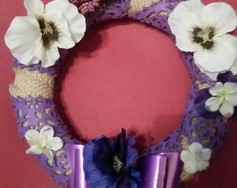 Purple pansy wreath