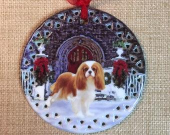 Blenheim Cavalier King Charles Spaniel Seasons Greetings Ornament
