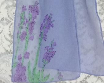 Lavender Silk Chiffon Scarf with Drawn Lavender