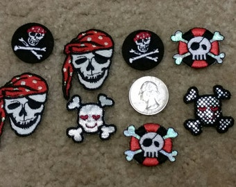 8 Assorted Skull Iron On Patches