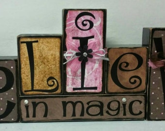 Believe in Magic wood blocks