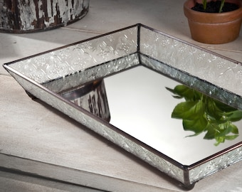 Glass Vanity Tray Mirrored Bottom with Clear Vintage Glass Sides Dresser Jewelry Cosmetic Perfume Home Decor Bathroom Gift for Her Tra 106-1