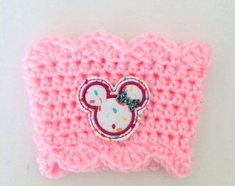Mous Ears Pink Scallop Sprinkle Donut Confectionery Coffee Sleeve Drink Crochet Cozy Cozies
