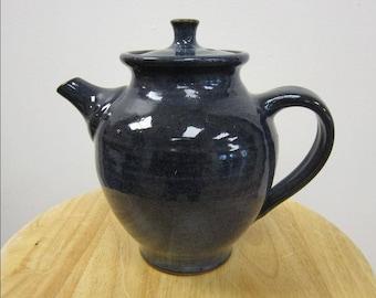 Teapot in Dark Slate Blue Glaze