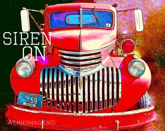 """Vintage Chevy Firetruck """"Siren On"""" 8x10 Poster, Bright Red Blue Black Gold"""