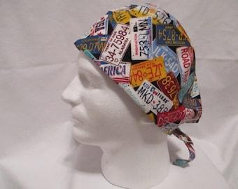 Men's Scrub Hat with License Plates on Black