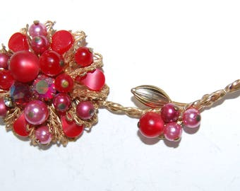 Vintage  Czech Flower Brooch Rhinestone Bead Red Pink Fabulous Large 3.5 Inches long