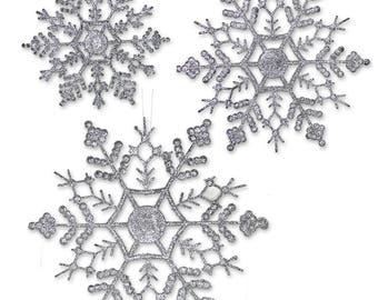 Silver Snowflakes - 36 Asst Sized Snowflake Ornaments - 12 each of 4 inch - 5 inch - 6 inch - Silver Glitter Snowflake 3539