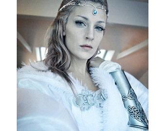 Medieval crown headpiece tiara fantasy wedding circlet forehead jewellery SILVER Blue