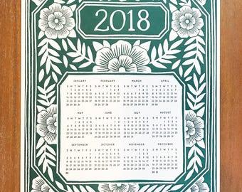 Katharine Watson 2018 Letterpress Calendar - Flat Letterpress Wall Calendar in Green