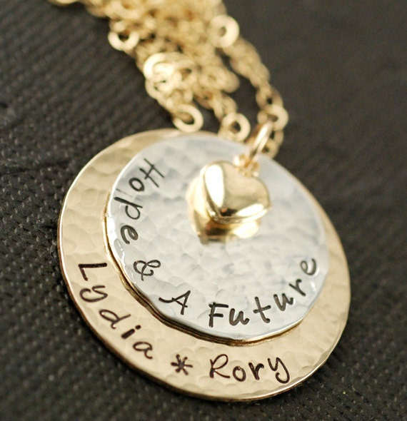 Hand Stamped Necklace, Personalized Jewelry,   Gold & Silver Necklace, Personalized Gold Necklace, Pearl