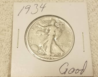 1934 Walking Liberty 50 cent piece Half Dollar Good Condition
