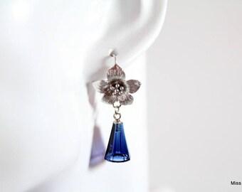 Azalea flowers and blue Swarovski elements crystal earrings