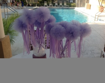 Set of (6) lavender tulle wands for birthday parties,photo props and more....