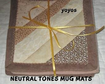 MUG MATS, NEUTRALS, String Quilt, Patchwork, Quilt, Set of Four,  Home  Décor, Table Décor,  Hostess Gift, Gifts for Men